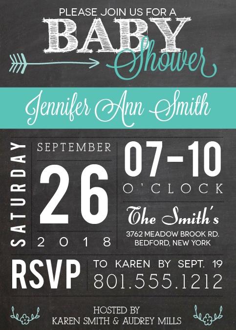 chalkboard baby shower invitations