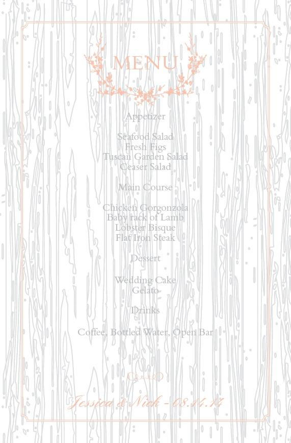 Wedding menus design your menu instantly online basic invite junglespirit Images