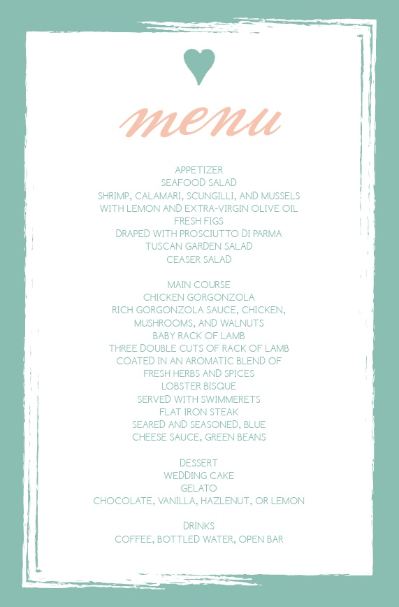 Wedding menus design your menu instantly online basic invite junglespirit Gallery