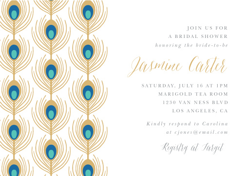 printed teal cardstock feather wedding images invitation invitations peacock on baskan engagem turquoise bridal co shower idai blue luxury