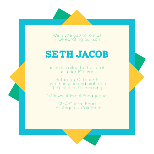 Bar Mitzvah Invitations Match Your Colors Style Free Basic Invite