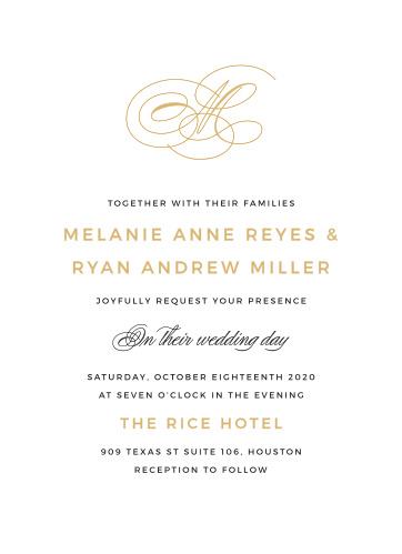 Foil stamped wedding invitations gold silver rose gold basic invite