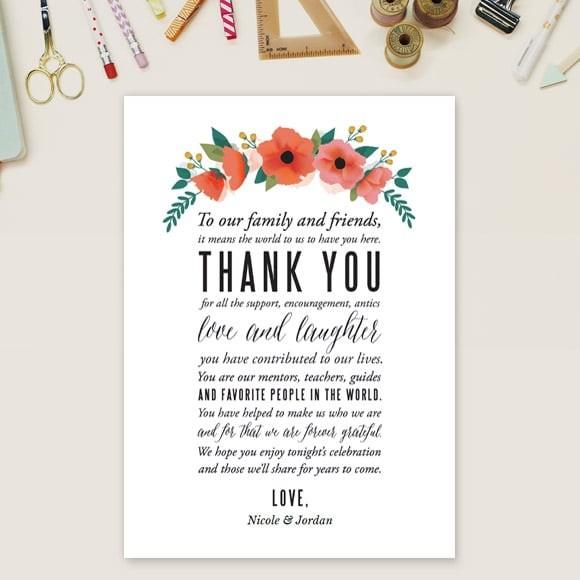 5X7 Cards-Printable Thank You Cards-Printable Stationary-Graduation Thank You-Wedding Thank You Card Watercolor Floral Thank You Printable