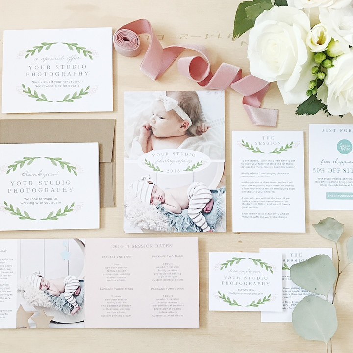 Introduce clients to your stunning style of photography and promote your studio with the Garden Watercolor Welcome Card.