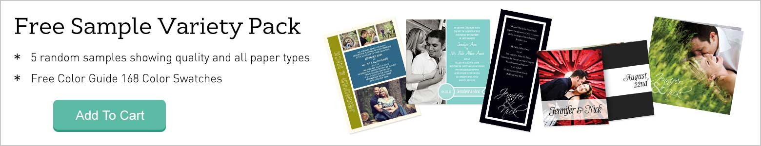 Free Sample Variety Pack - 5 free wedding invitation samples