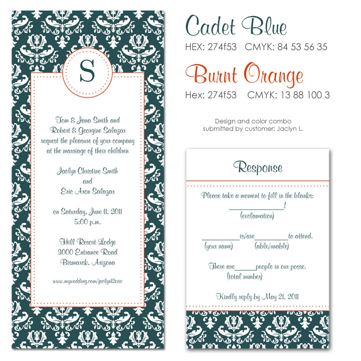 Cadet Blue and Burnt Orange Wedding Invitation
