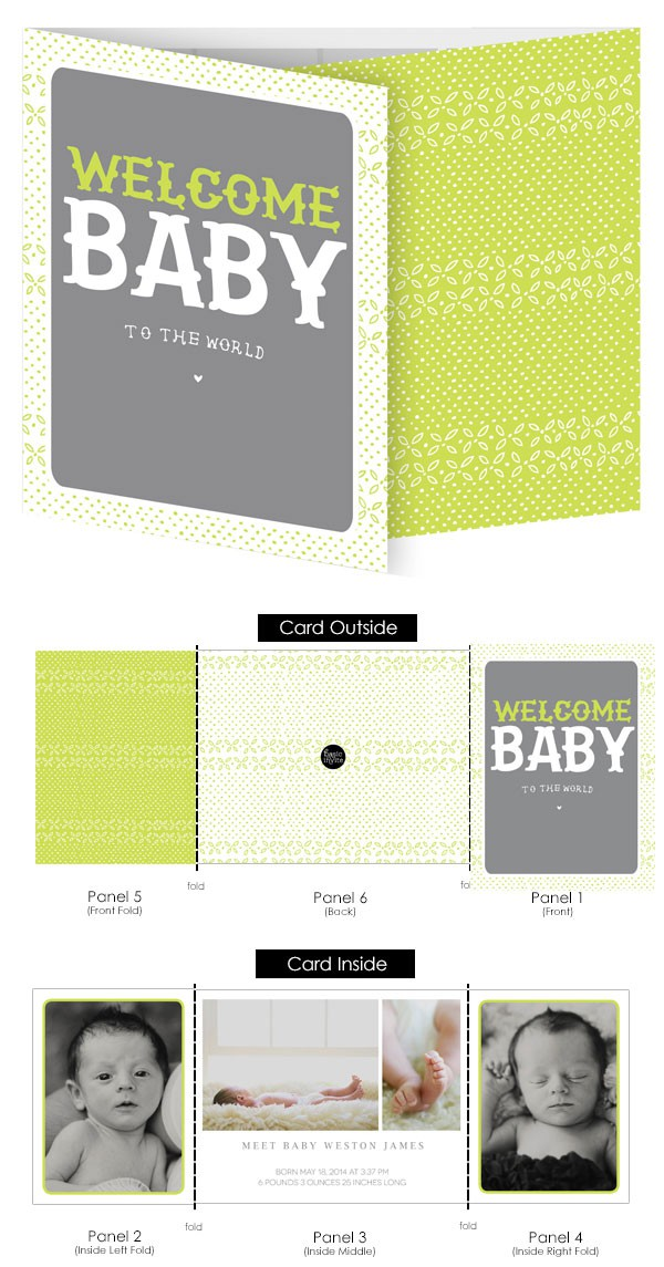 New To The World Mini Tri-Fold Birth Announcements