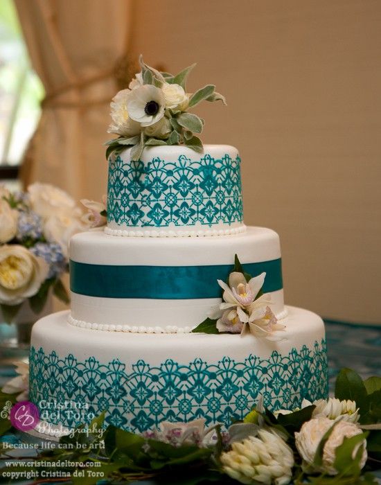 Bride and Groom Teal Cake with Flowers
