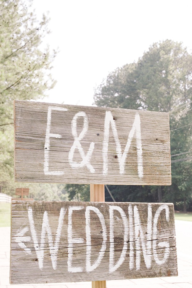 wood wedding sign at wedding