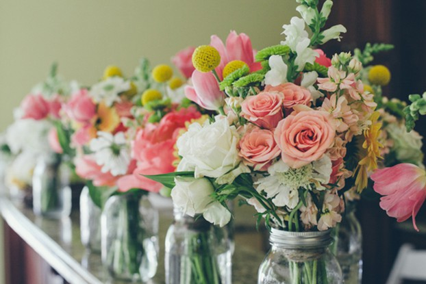 wedding flowers lined up