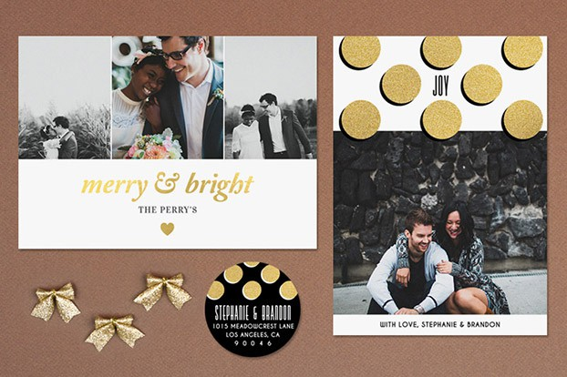 gold holiday cards