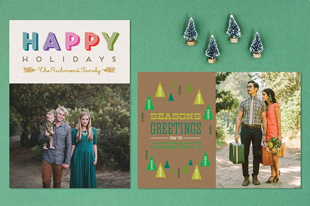 happy holiday cards rustic