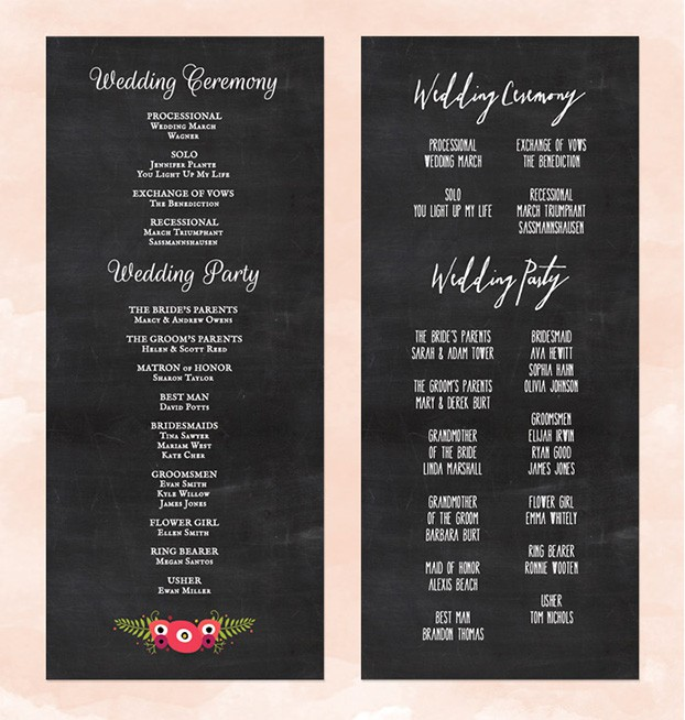 Chalkboard Wedding Programs