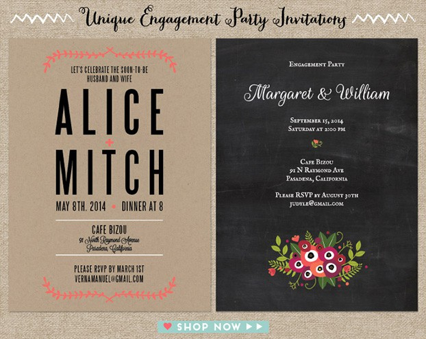 unique engagement party invitations