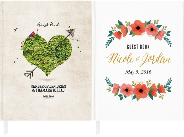wedding guest book with heart