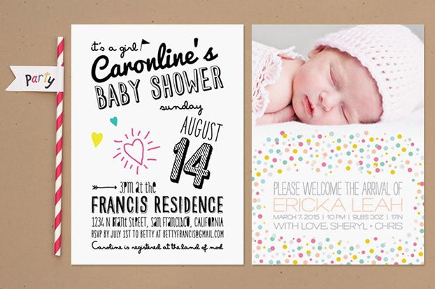 fun baby shower invitation with colors