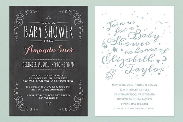 chalkboard baby shower invitations modern
