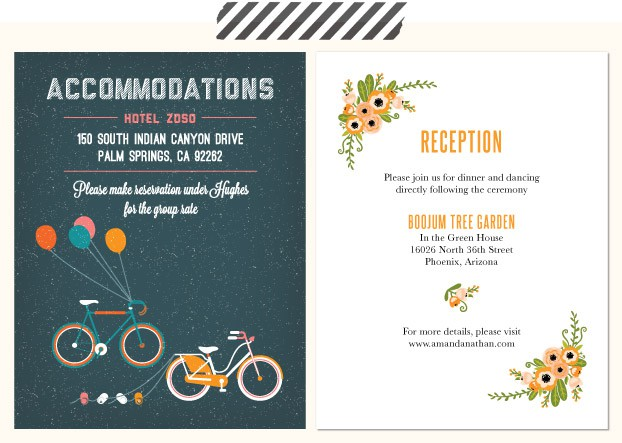 details to include on your enclosure card - Wedding Invitation Details Card