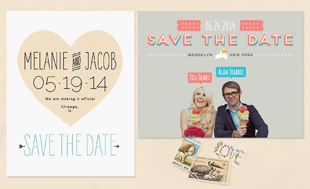 save the date postcard with heart