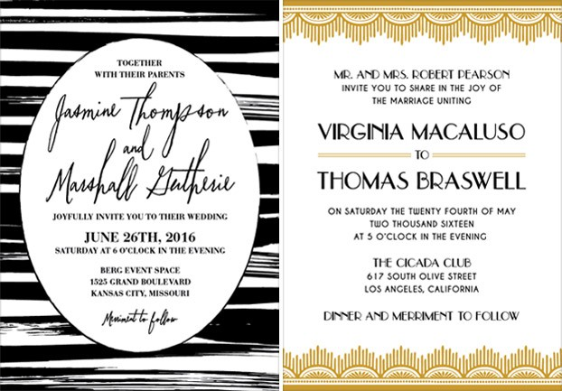 wedding invitation with gold elements