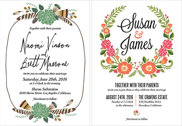 wedding invitation with feather