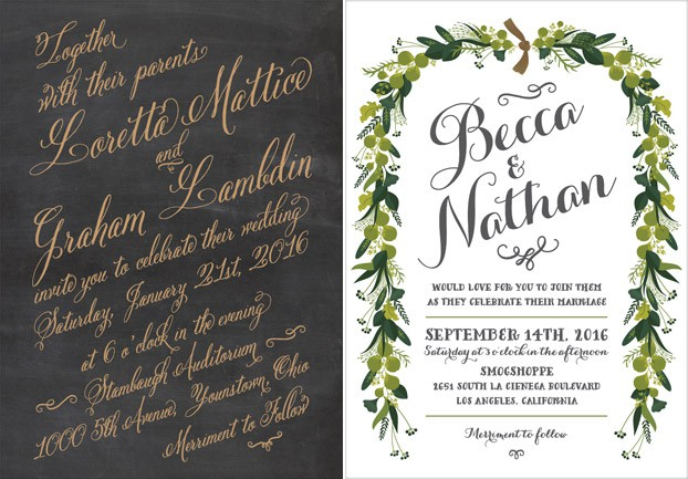 chalkboard gold wedding invitation
