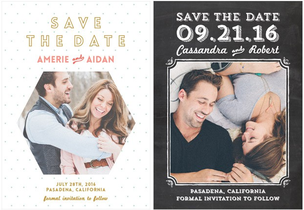 chalkboard save the dates with photo