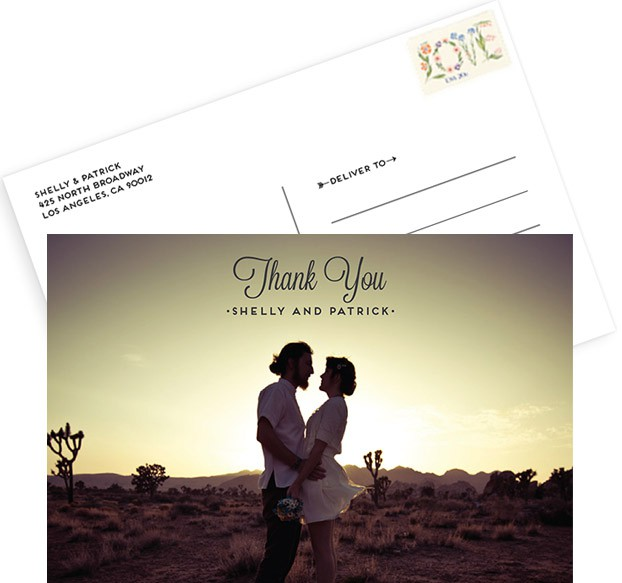 photo thank you card desert