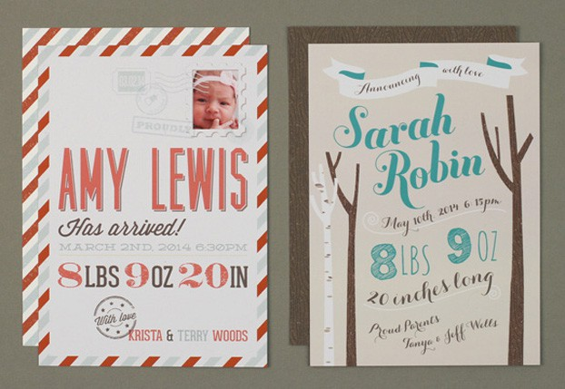 baby announcement postal look