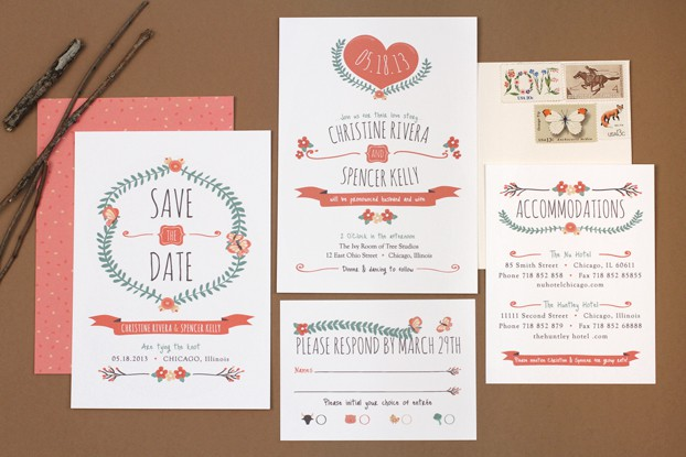 Fun stamps for wedding invitations