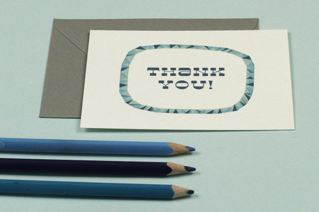 thank you card with pencils