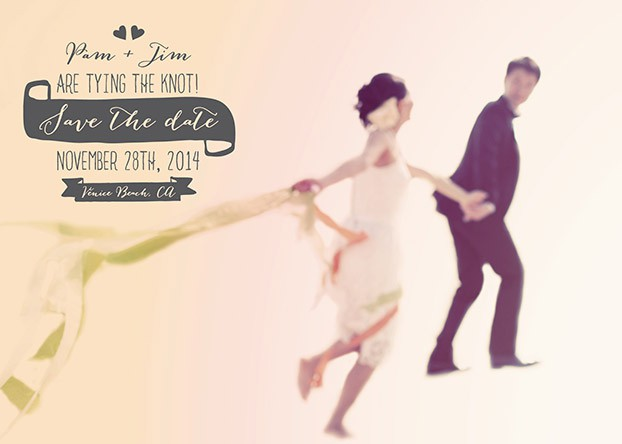 save the date bride and groom running