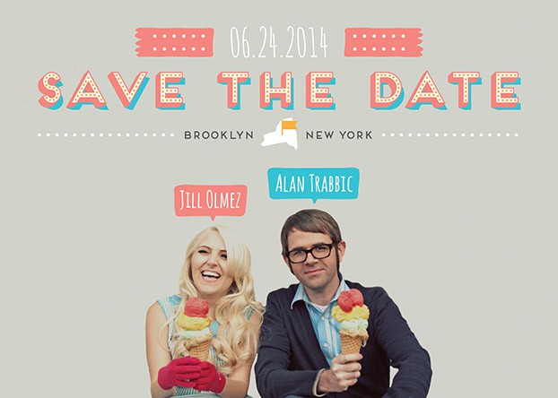 save the date with ice cream