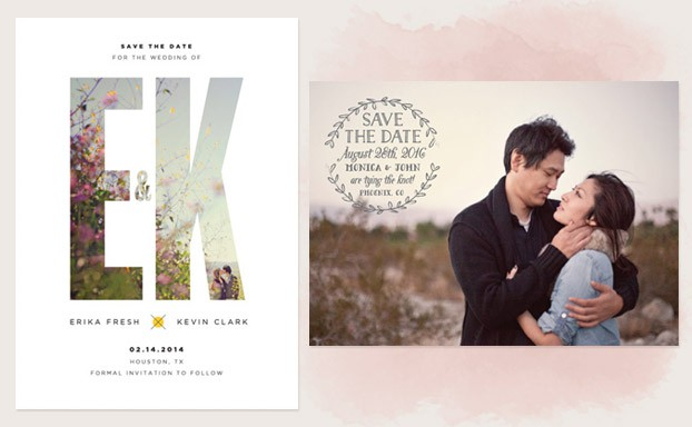 Photo Save the Date with Letter outline