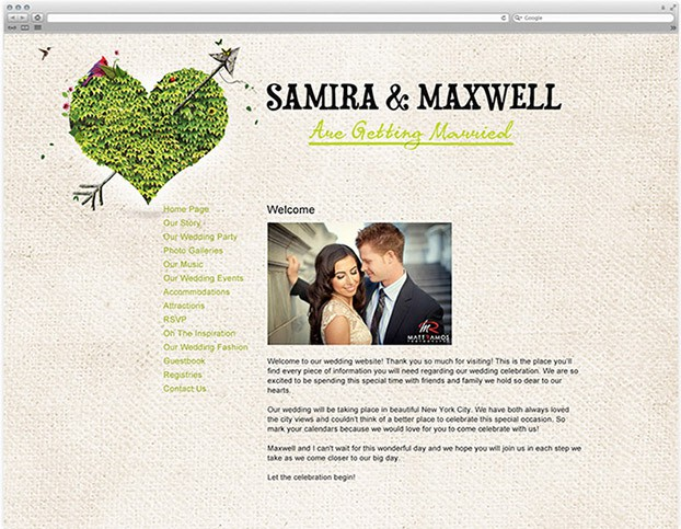 free wedding website with heart