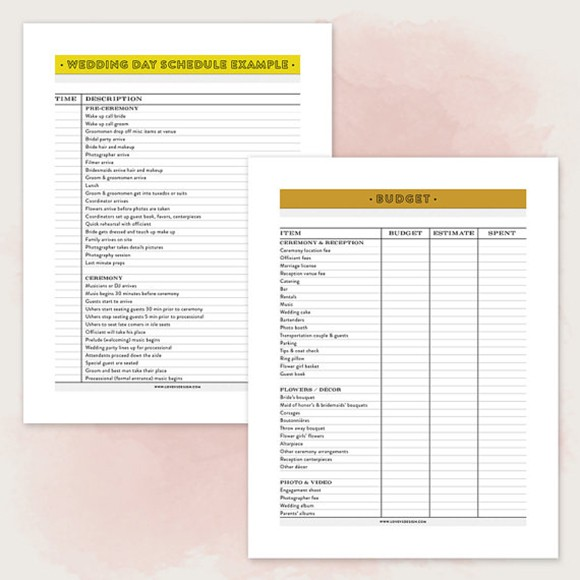image regarding Printable Wedding Planner named Printable Wedding day Planner PDF