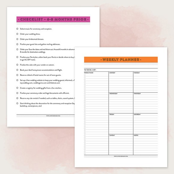 picture relating to Printable Wedding Planner identified as Printable Marriage ceremony Planner PDF