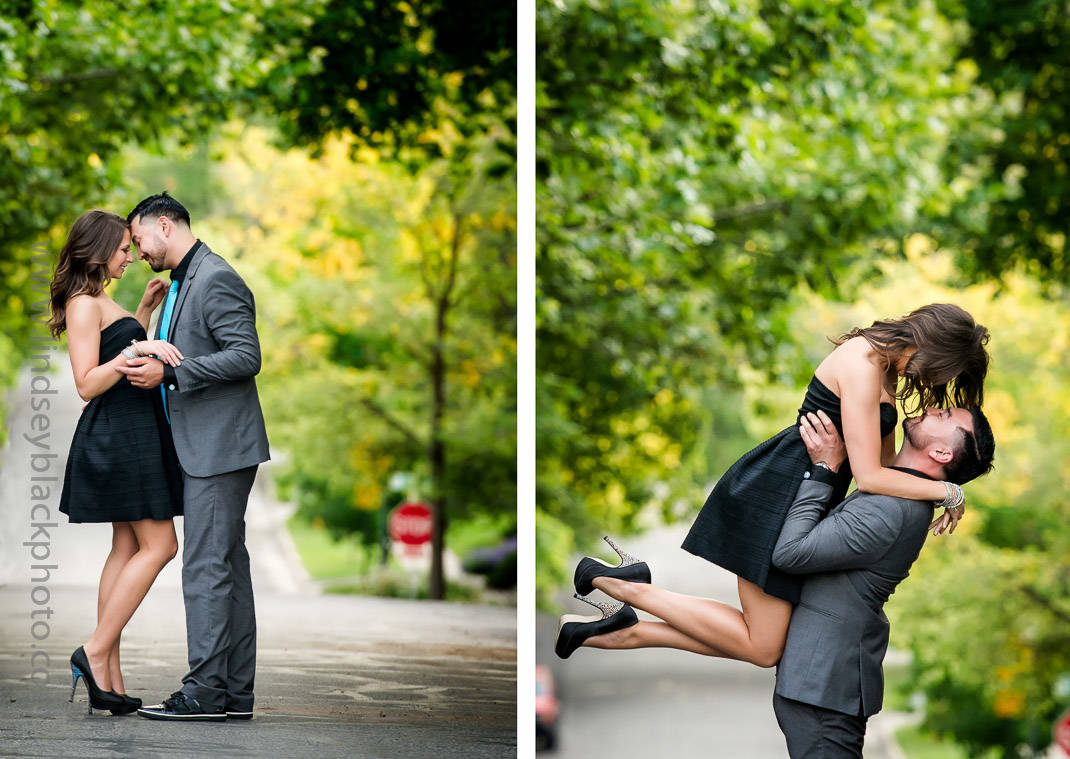 Utah Wedding Photographer | Lindsey Black | Ninth and Ninth Engagement Photo on a tree-lined street