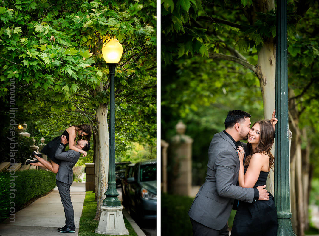 Utah Wedding Photographer | Lindsey Black | Ninth and Ninth Engagement Photo under a lamppost