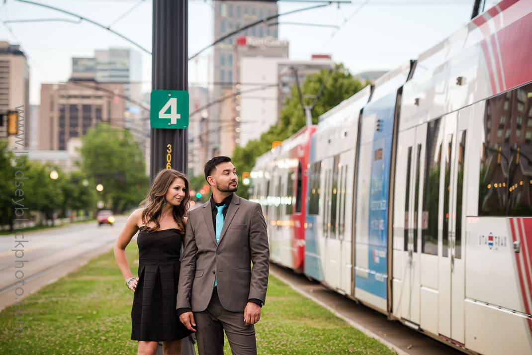 Utah Wedding Photographer | Lindsey Black | Downtown Salt Lake Engagements with a Trax train
