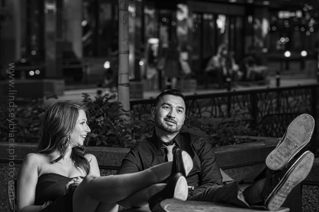 Utah Wedding Photographer | Lindsey Black | Downtown Salt Lake Engagements at a City Creek cafe table