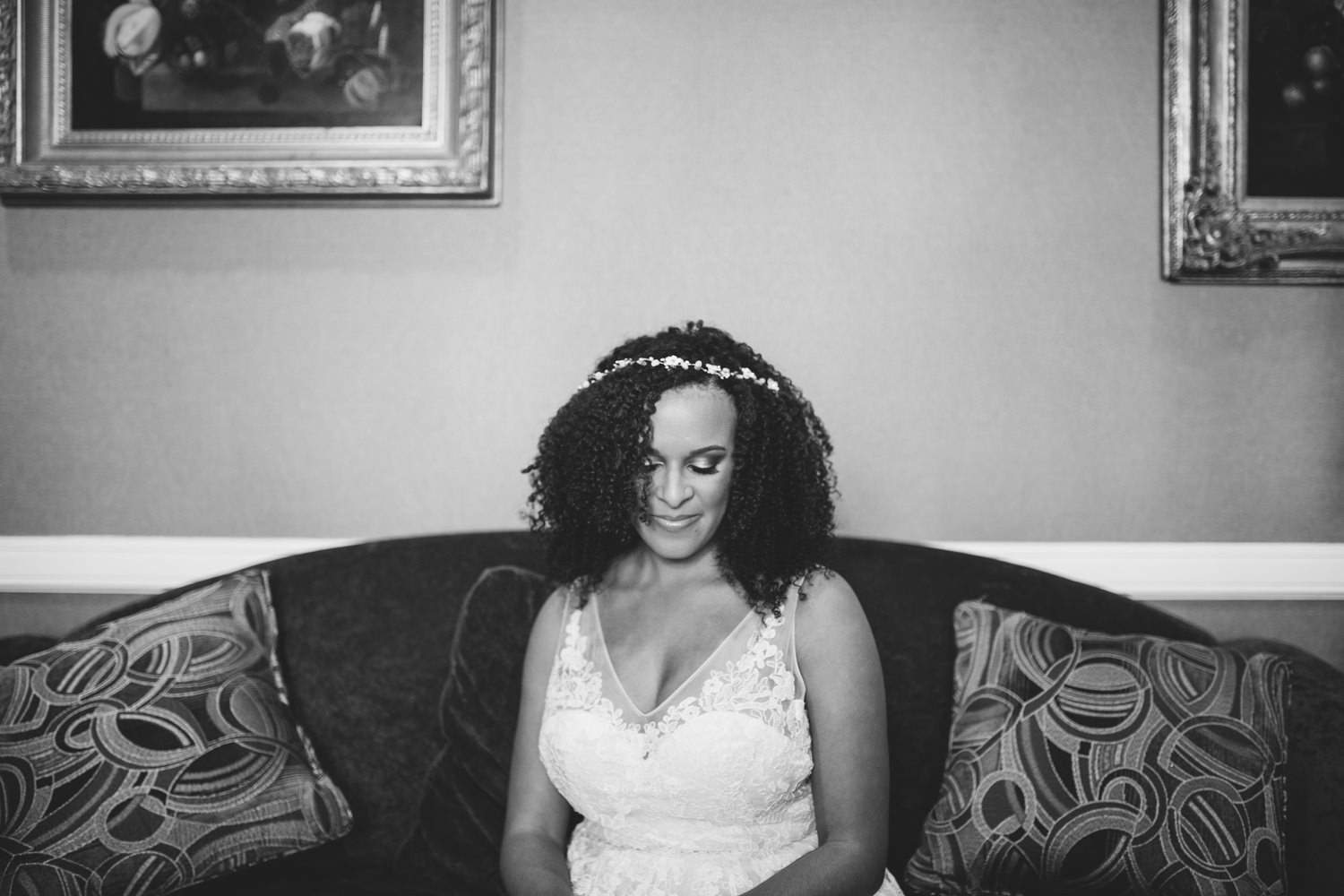 Black and white portrait of BHLDN wedding dress