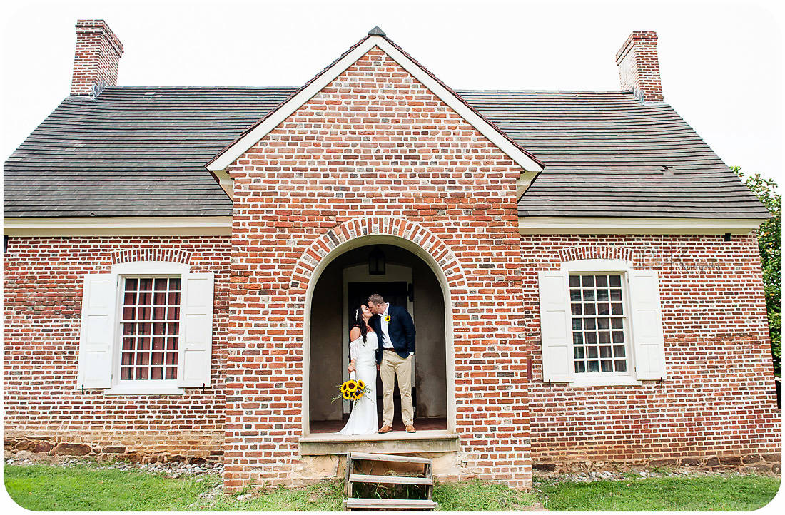 wedding couple brick house