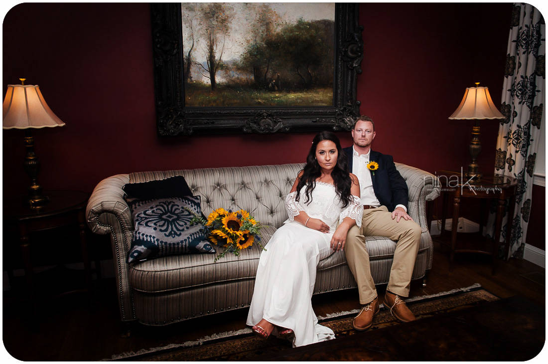 wedding couple on couch