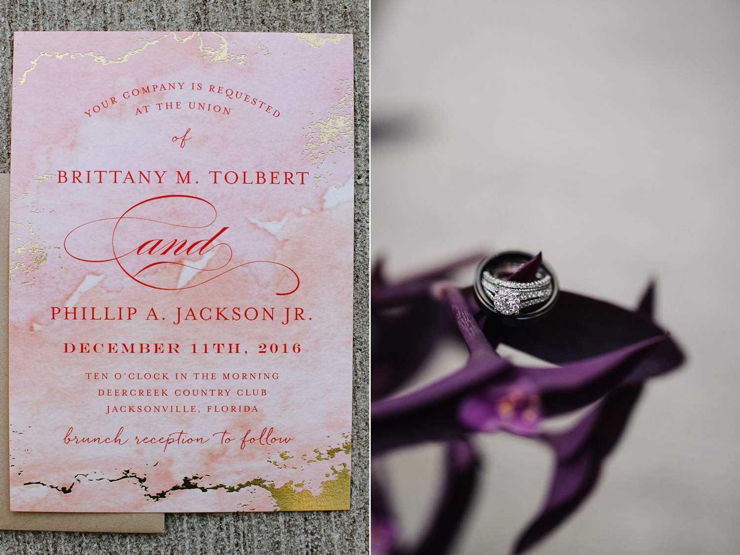 Pink and gold wedding invitation