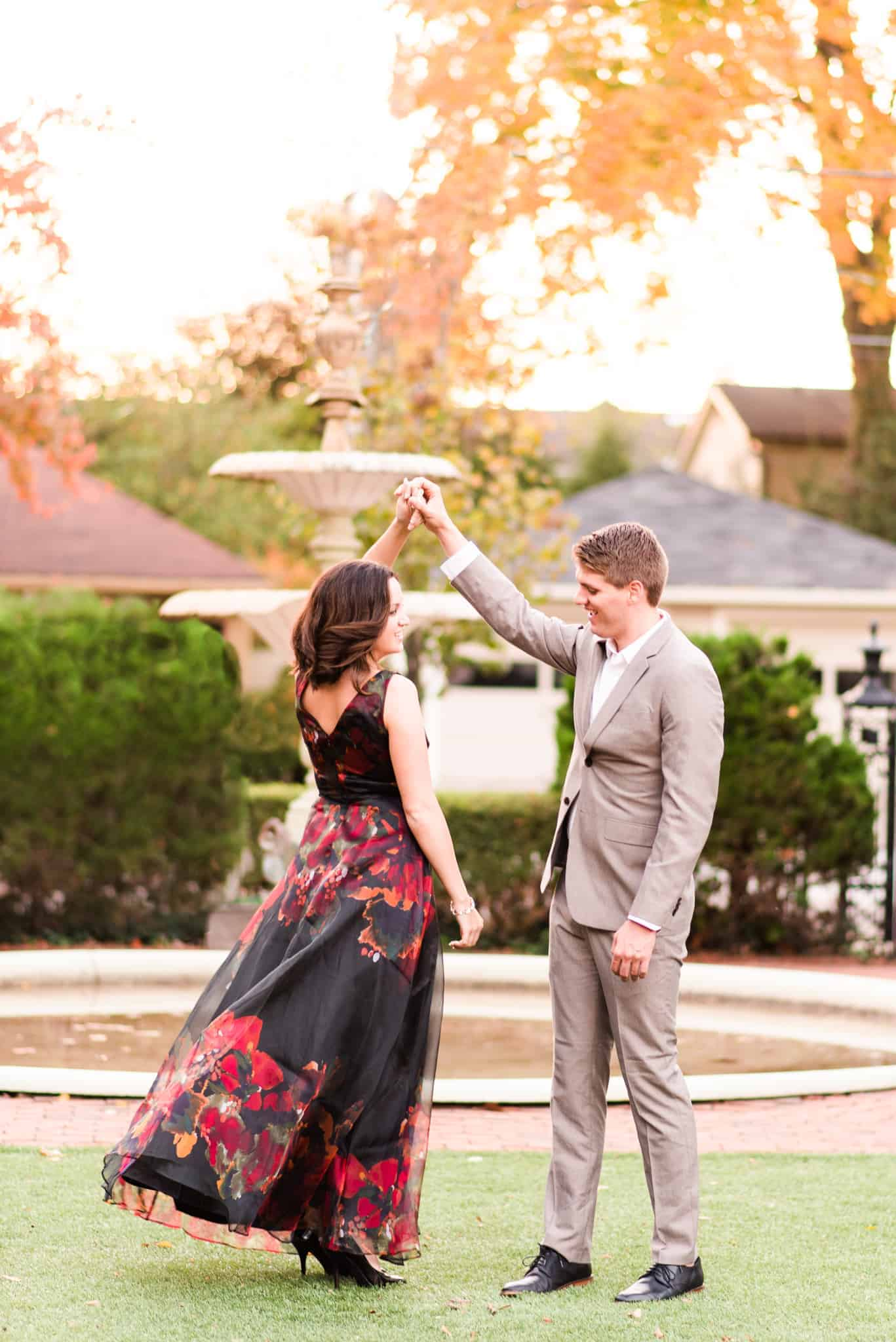 The classy dress, the charming courtyard, the romantic light - this engagement session was my definition of perfect.