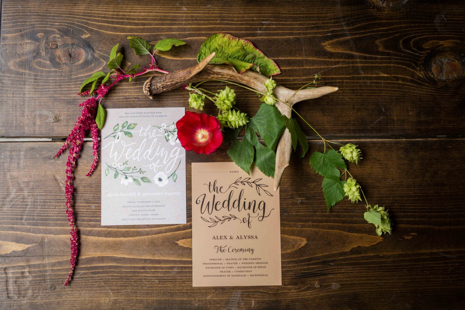 Invitations and wedding details. Incredible wedding just outside of Spokane Washington.