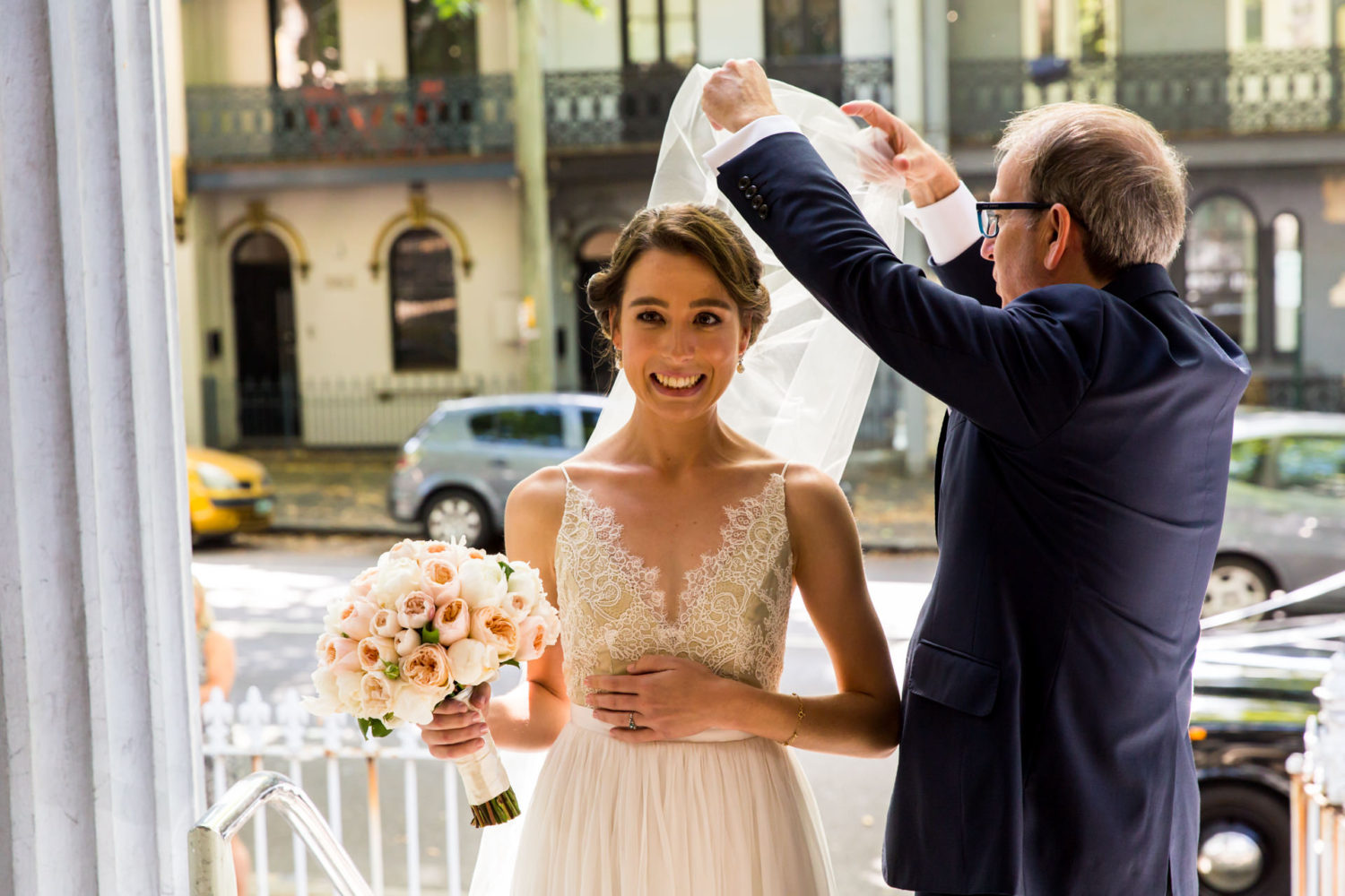 The brides nerves before she walks down the aisle for her Sydney wedding
