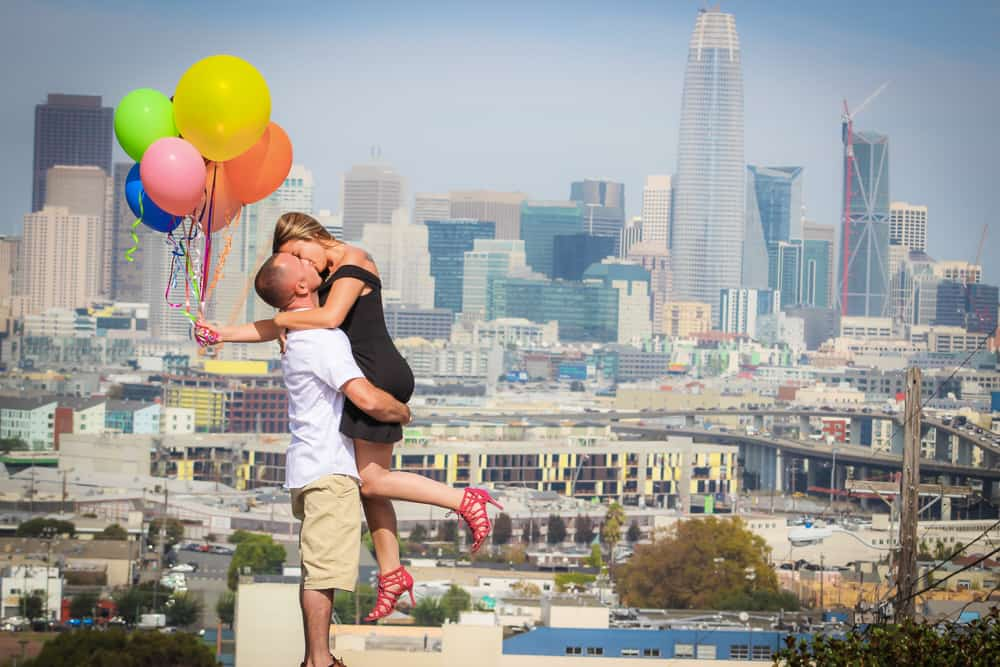 Potrero Hill Engagement Session with Balloons