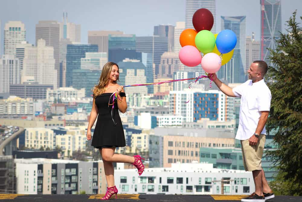 Engagement Potrero Hill San Francisco California with Balloons